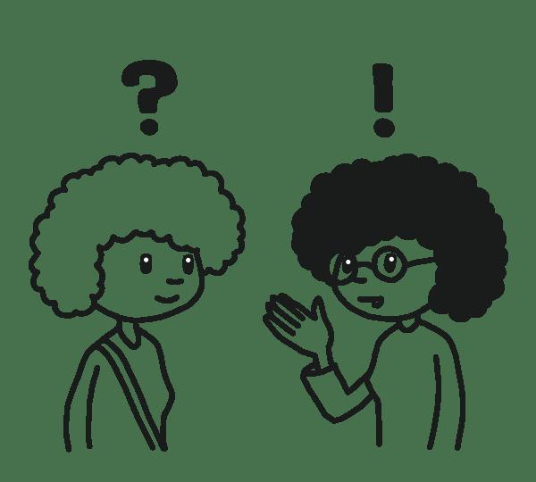 Studentin und Schülerin im Gespräch