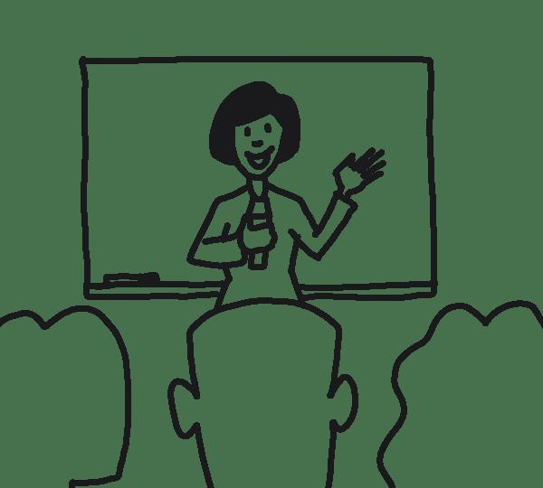 Frau spricht vor Publikum