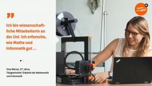 Sina richtet einen 3D-Drucker ein