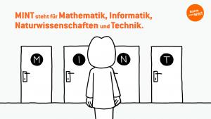 Frau steht vor vier Türen mit der Aufschrift M, I, N und T