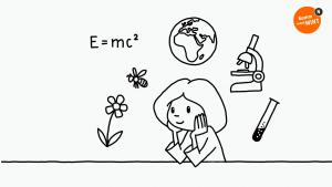 Symbole aus dem Bereich Naturwissenschaften schweben um den Kopf einer nachdenkenden Schülerin