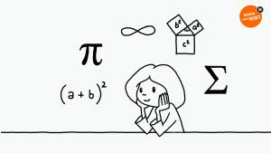Mathematische Formeln und Symbole schweben um den Kopf einer nachdenkenden Schülerin