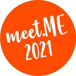 orangener Kreis mit der Aufschrift meet.ME 2021