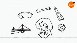 Symbole aus dem Bereich Technik schweben um den Kopf einer nachdenkenden Schülerin