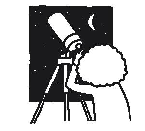Mädchen schaut durch Teleskop